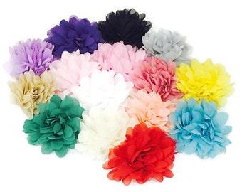 "Chrysanthemum Chiffon Flowers - 4"" Flowers - DIY Flower Supplies - Large Chiffon Puffs - Wholesale Flowers - You Pick Colors"