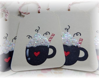 Coffee- Glitter - Heart Cup - Coffee/Cocoa Tags (6)