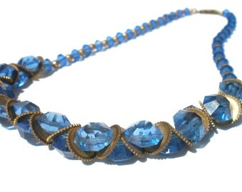 Vintage Czech Necklace with Ocean Blue Glass Beads with Brass Gear Spacers - Vintage Costume Jewelry 30s