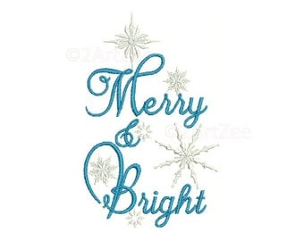 Christmas Snowflakes Merry & Bright Machine Embroidery Design Frozen