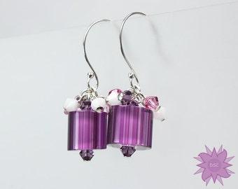 Purple Pink White Cane Glass Cluster Earrings, Swarovski Crystal Furnace Glass Drop Earrings, Amethyst Fuchsia and Alabaster Dangle Earring