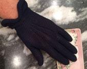 Dark blue vintage gloves, Kayser, size 7 1/2, navy, MidCentury ladies gloves, fishnet, reduced