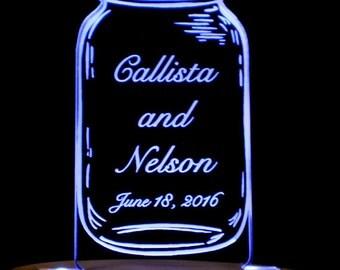 Mason Jar Wedding Cake Topper  -  Engraved - Light Extra