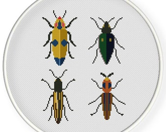 Instant download,free shipping,Cross stitch pattern, PDF,  colorful beetles ,ZXXC0650