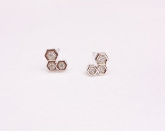 Tiny Honeycomb Stud Earrings with Polished Rhodium Plated Sterling Silver, CZ Crystals, Ready to Ship