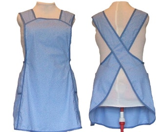 Plus Size Apron, No Ties Crossback Apron - Blue with Blue Rose Buds Calico - Made to Order Full Figure Sizes XL, 2X, 3X, 4X, 5X