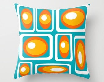 Mod  Turquoise Outdoor Pillow, Modern Outdoor Pillow, Modern Outdoor Cushion,