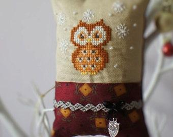 Owl Ornament Cross Stitch  Decoration pillow
