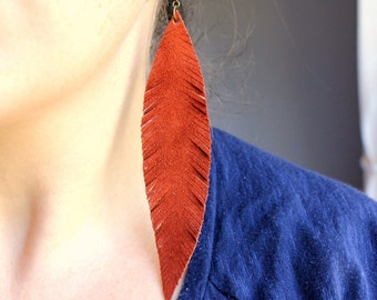 Large Dark Red Feather Earrings