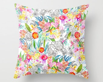 Unique Floral Print Pillow Cover. Created from my original drawings and paintings. This pillow cover is very vibrant and colorful.