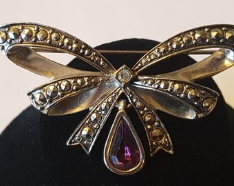 Vintage AVON Brooch with Marcasites & Purple Gemstone