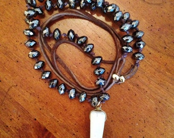 Brown Suede and Charcoal Beading Long Necklace with Ivory Bone Pendant