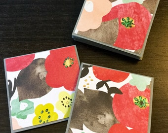Floral Mini Cards, Set of 12 Small Cards, Embellished Cards, Small cards with Flower Print