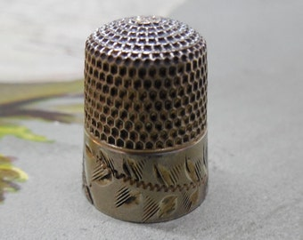 Antique Sterling Silver Simons Bros. Thimble Size 7 Monogrammed & Dated