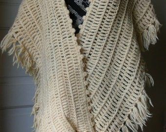 SALE Vintage Long Wool Crochet Stole Shawl