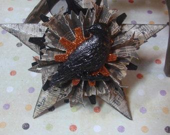 Black Crow, Altered Art, Assemblage Halloween Ornament Decoration,  Star