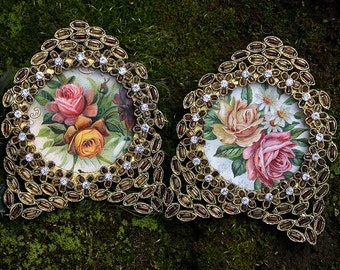 Pair of Vintage Brass Altered Jeweled and Beaded Rhinestones Topaz and Crystal Wall Frames with Vintage Postcard Cutouts of Roses