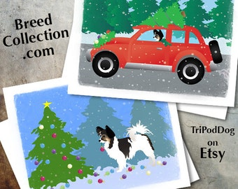 Papillon Dog Christmas Cards from the Breed Collection - Digital Download  Printable
