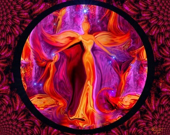 "Angel Art, Reiki Wall Decor, Red Chakra Energy Art Print ""Attunement"""