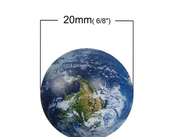 10 pcs Circle Earth World Planet Solar System Universe Glass Round Dome Seals Tiles Cabochons - 20mm (0.79 in) - About 3/4 inch