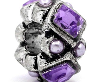 10 pcs Antique Silver Purple Rhinestone Rondelle Spacer Beads - 12mm - Hole Size: 4.6mm - Fits European Cords and Paracord!