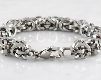 Bold Stainless Steel Square Wire Byzantine Bracelet