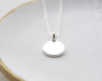 Silver pendant, silver necklace, minimal, wedding gift, bridal jewelry,round charm, modern necklace, everyday, dainty