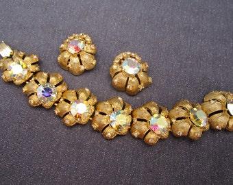 Rhinestone Bracelet set, bracelet, rhinestone, vintage bracelet, vintage rhinestones, unsigned beauty, flower bracelet, vintage sets