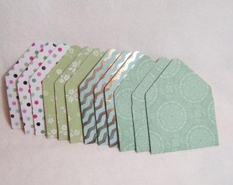 Shades of Green Tiny Envelopes, Set of Twelve Green Tiny Envelopes, Green Pink and Gold Foil Tiny Envelopes