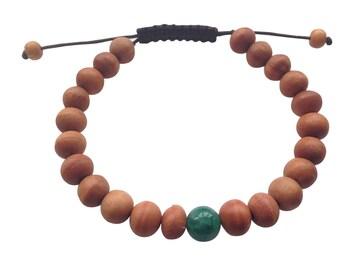 Tibetan mala Wood bead Wrist mala Bracelet with green jade Spacer for meditation