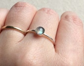 5mm Labradorite round ring in 925 sterling silver setting size 7