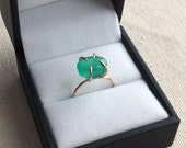 Green onyx faceted claw ring in 14K Gold Filled setting size 5