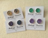 12mm Druzy stud earrings / choose your color / FREE gift wrapping