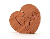 Small Wooden Heart Puzzle Toy Valentine's Day Mother's Day Love Puzzle Hand Cut Scroll Saw Cherry