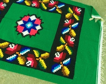 Sale! Rug Blanket Wall Hanging Green Southwest Mexican Boho Bright Vintage