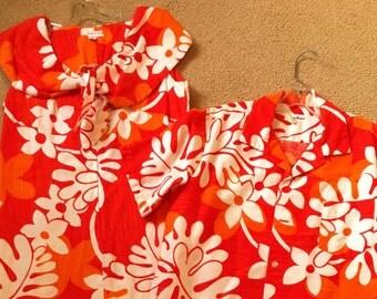 Vintage Hawaiian Dress Shirt Wedding Set Barkcloth Hibiscus Orange Red