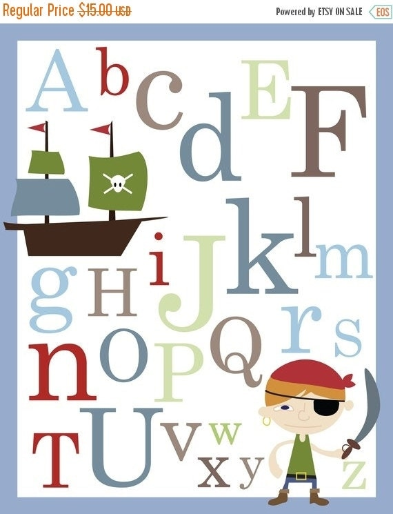ON SALE 20% OFF Pirate Abc Alphabet Poster print - 11 x 14 inches Baby nursery wall decor