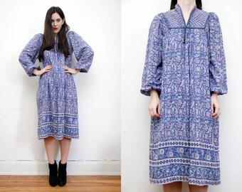 R E S E R V E D Vintage Indian Cotton Indian Gauze Boho Dress Hippie Dress Ethnic Floral Gauze Cotton Dress 70s