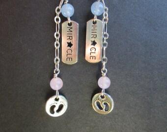 Miracle baby earrings- pink and blue jade- preemie micropreemie mom- NICU