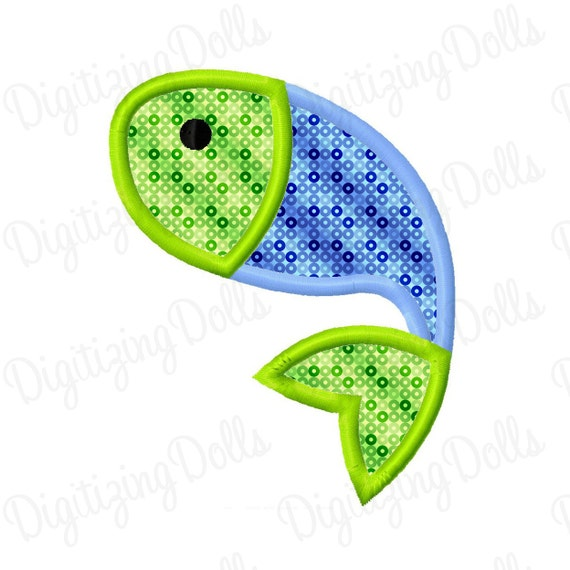 Digitizing Dolls Fish 3 Applique Embroidery Applique Design 4x4 5x7 Fishing INSTANT DOWNLOAD