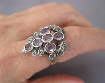 Vintage Sterling Marcasite Art Deco Grape Amethyst Cluster Ring