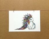 Watercolor/Ink-Animal-Bunny with Headdress #1