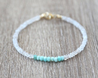 White Zircon Bracelet with Amazonite Bar / Sterling Silver / 14K Gold Filled / Rose Gold / Layering Stackable Gemstone Bracelet