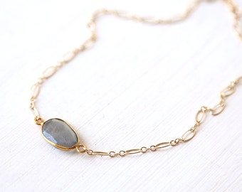 Horizontal Gold Labradorite Natural Shape Gemstone Choker Necklace  // Simple everyday layering jewelry