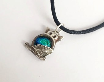 Mini Silver Owl Pendant Necklace with Dichroic Glass