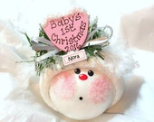 Baby's 1st First Christmas 2016 Ornament Color Choice Pink Townsend Custom Gifts Personalize Sample