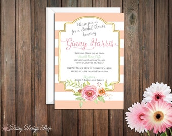 Bridal Shower Invitation - Watercolor Flowers and Stripes with Frame