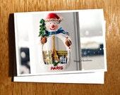 Paris Snowman CHRISTMAS CARD, Snowman in Paris, Eiffel Tower Snowman Card, Snow in Paris Christmas Card, Vintage Snowman, Paris Photo Card