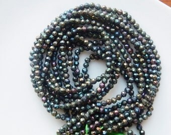 """3.5mm mystic blue spinel faceted round beads , blue spinel, rainbow spinel, full strand (13.5"""")"""
