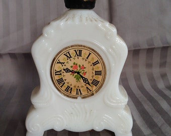 "Avon ""Leisure Hours"" Bath Oil - Vanity - Bath - Clock Decanter - Ladies Bath Oil Decanter"